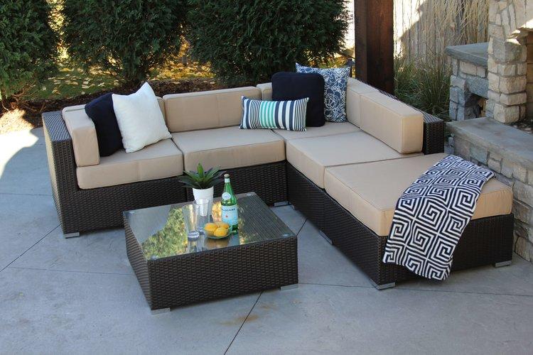 Halstead•Nicolett Brown Tan.JPG - Halsted 6 Piece Wicker Patio Sofa Sectional — MELDECCO PATIO FURNITURE