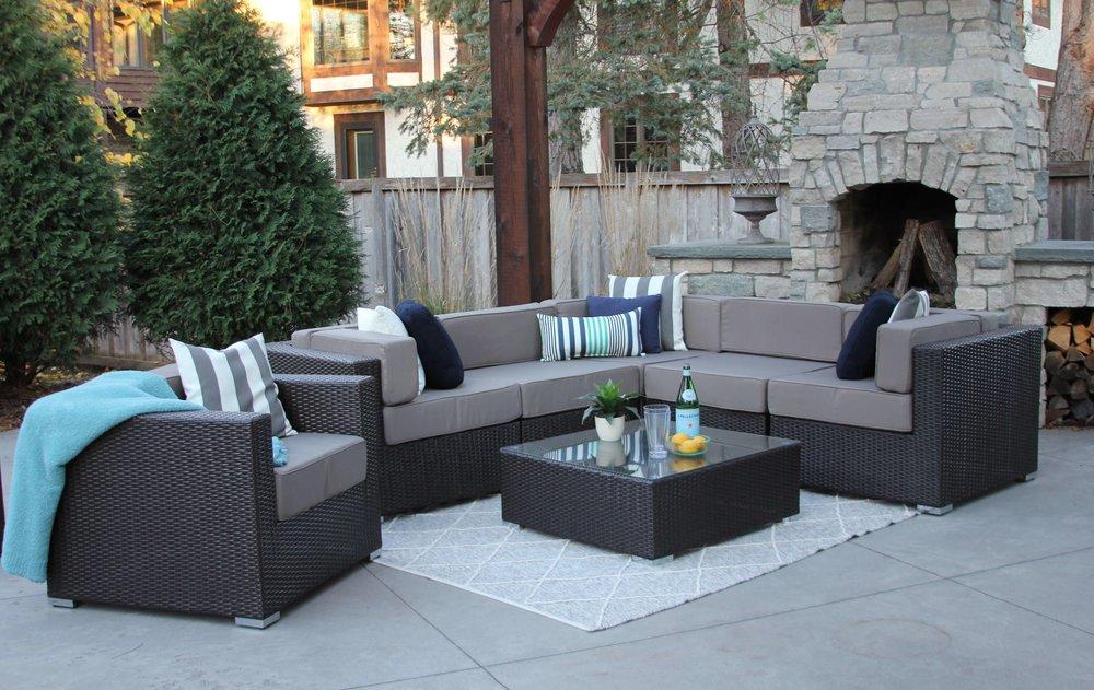 grant 7 piece wicker patio sofa sectional meldecco patio furniture rh meldecco com gray wicker patio dining chairs
