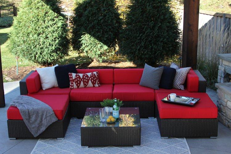 Fullerton 7 Piece Wicker Patio Sofa Sectional — MELDECCO PATIO FURNITURE