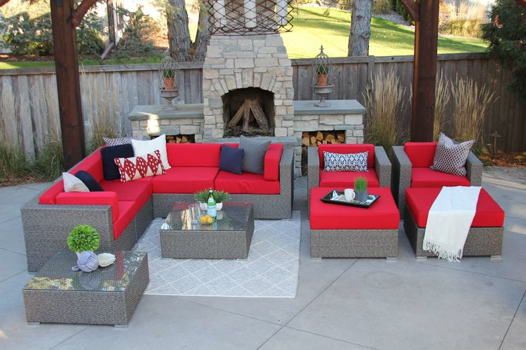 Victor•Harriet Gray Red.JPG - Victor 11 Piece Wicker Patio Sofa Sectional — MELDECCO PATIO FURNITURE