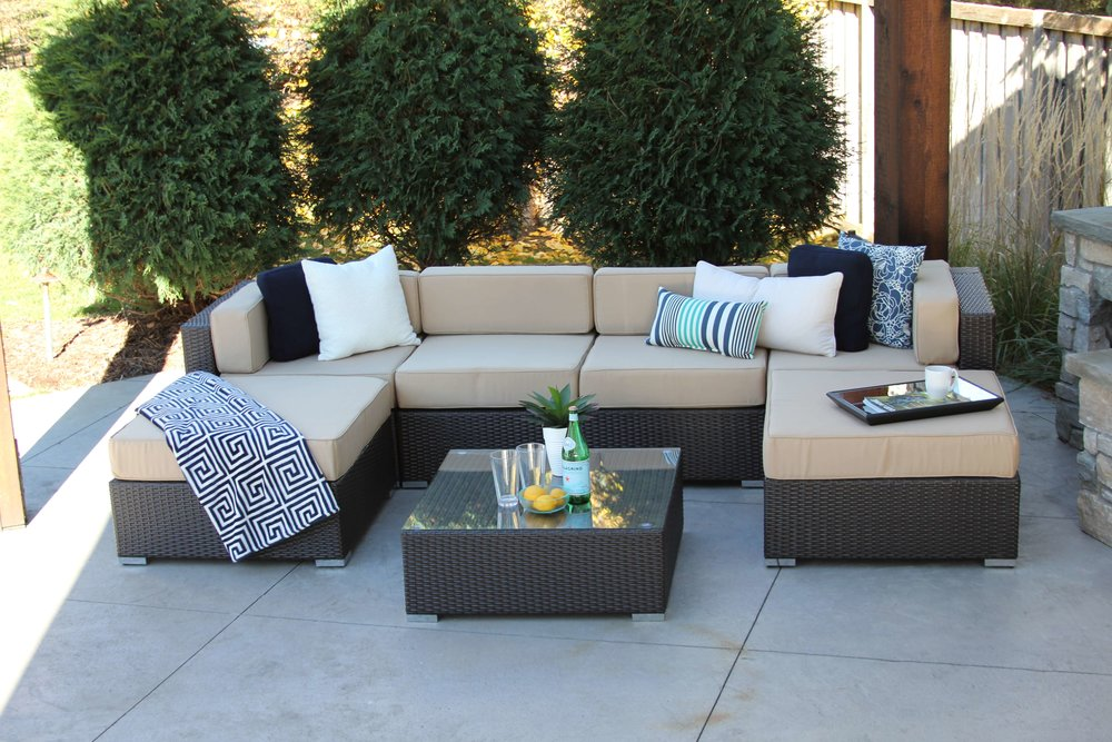 Fullerton 7 Piece Wicker Sectional Sofa With Coffee Table