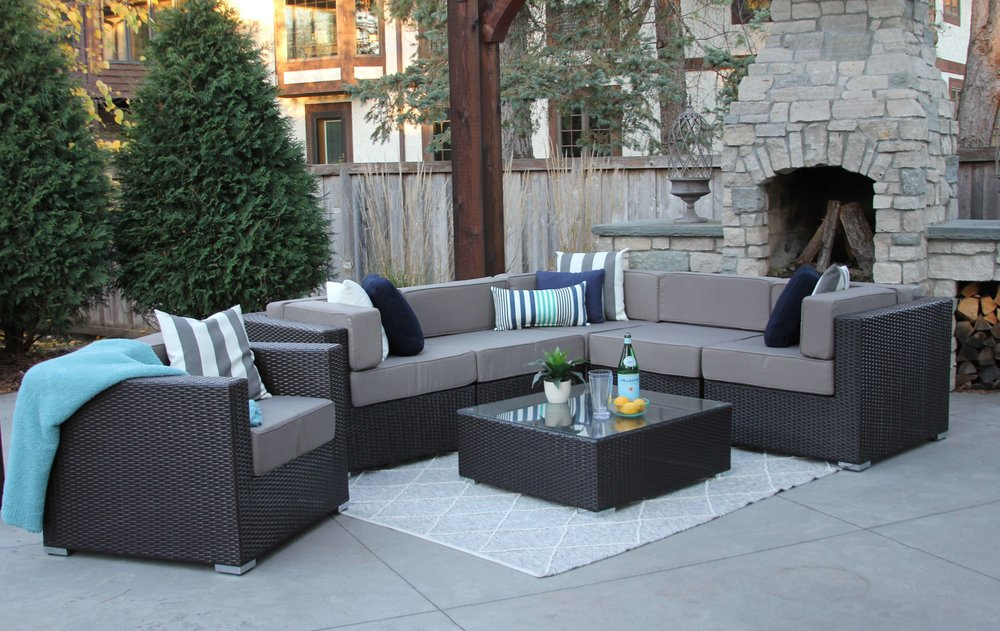 Grant 7 Piece Wicker Sofa Sectional With Club Chair And Ottoman & MELDECCO PATIO FURNITURE