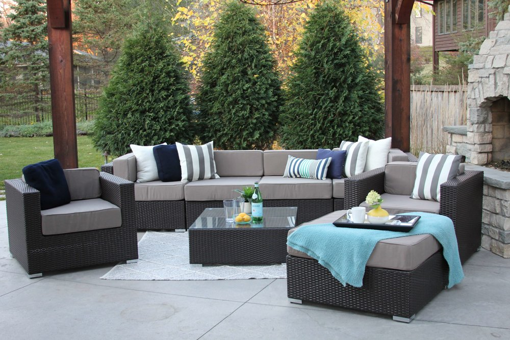 Lincoln 8 Piece Wicker Sofa Sectional Set With Two Club Chairs, an Ottoman, and a Coffee Table