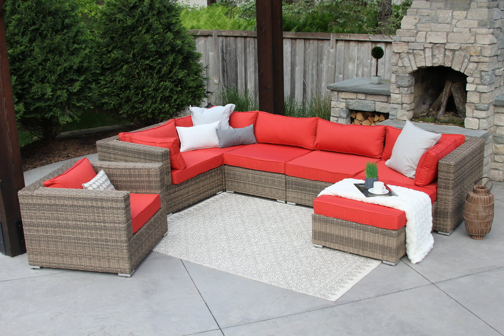 Loring 7 Piece Wicker Patio Sofa Sectional