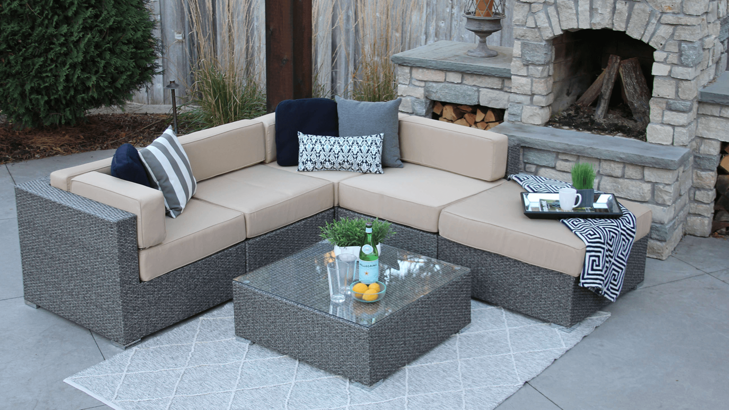 Halsted 6 piece wicker patio sofa sectional meldecco patio furniture