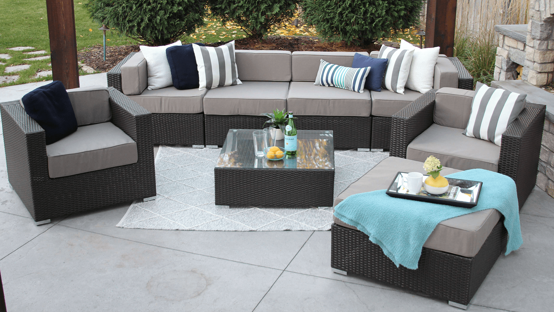 Lincoln 8 Piece Wicker Patio Sofa Sectional — MELDECCO PATIO FURNITURE