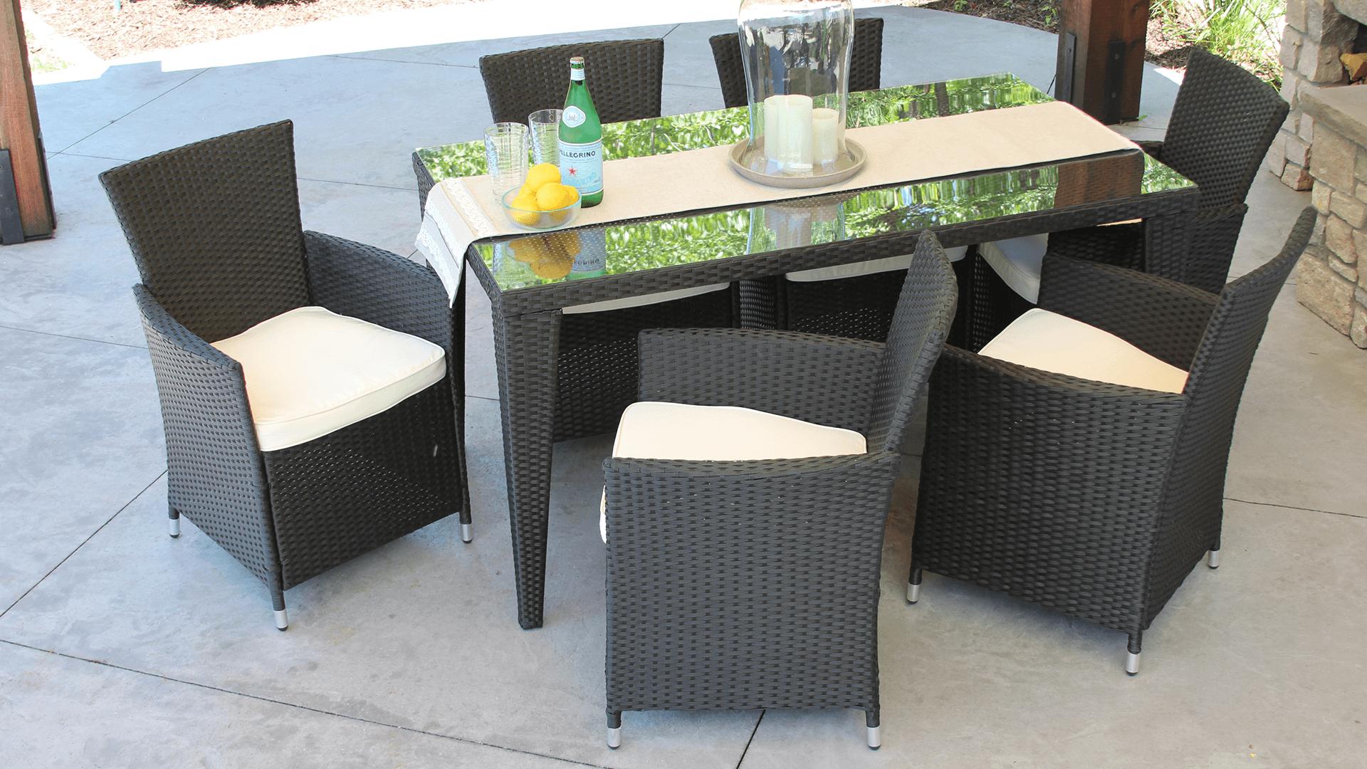 7 Piece Wicker Outdoor Dining Set