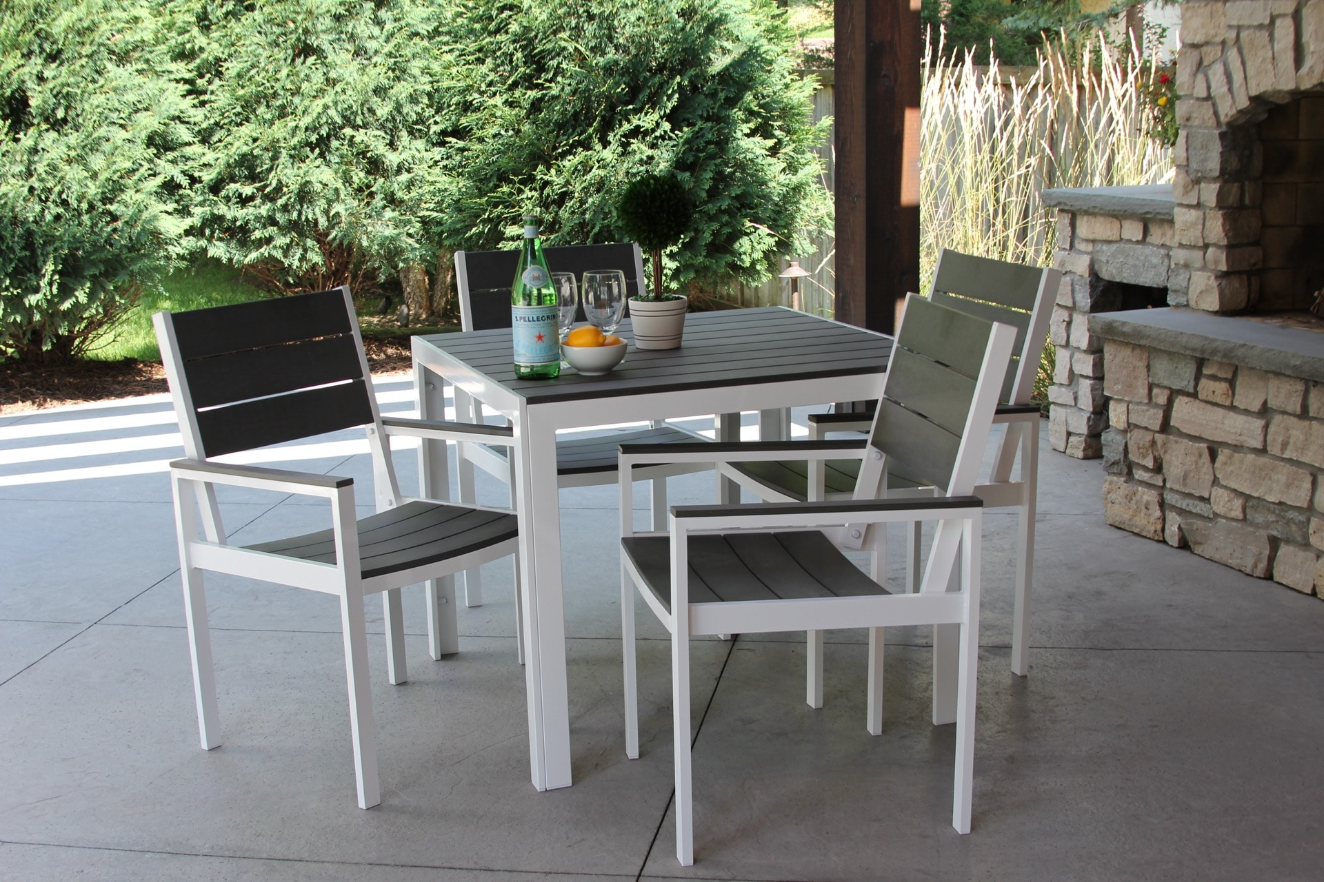 White On Gray Winston 5 Piece Outdoor Dining Set U2014 MELDECCO PATIO FURNITURE