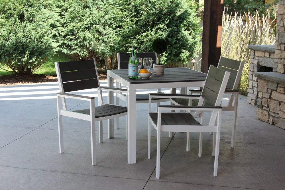 White on Gray 5 Piece Dining Set