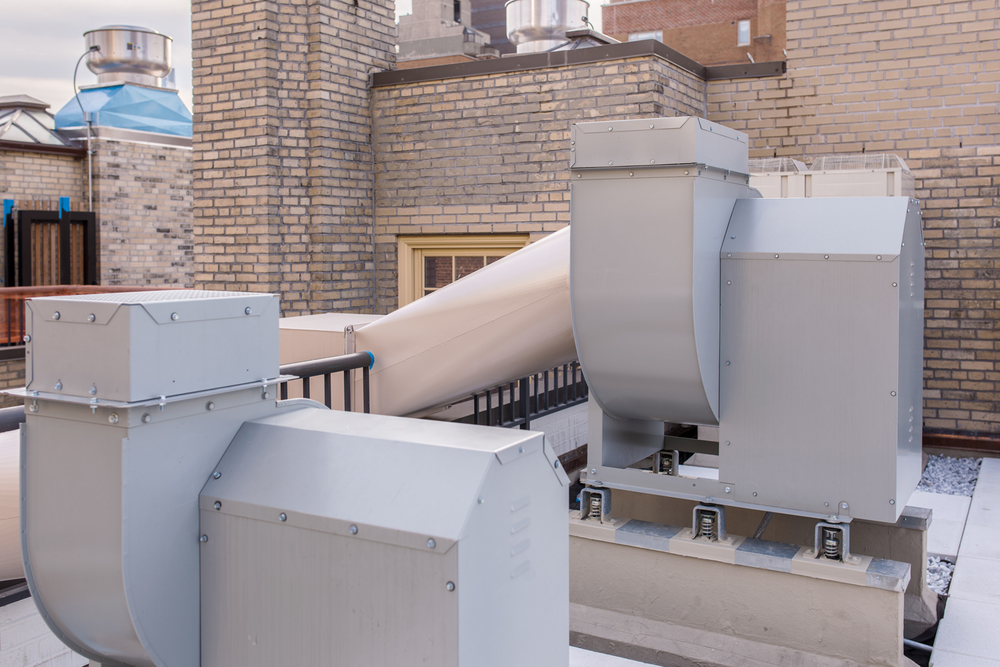 Exhaust fans installed on the rooftop of E72nd Street luxury apartment building