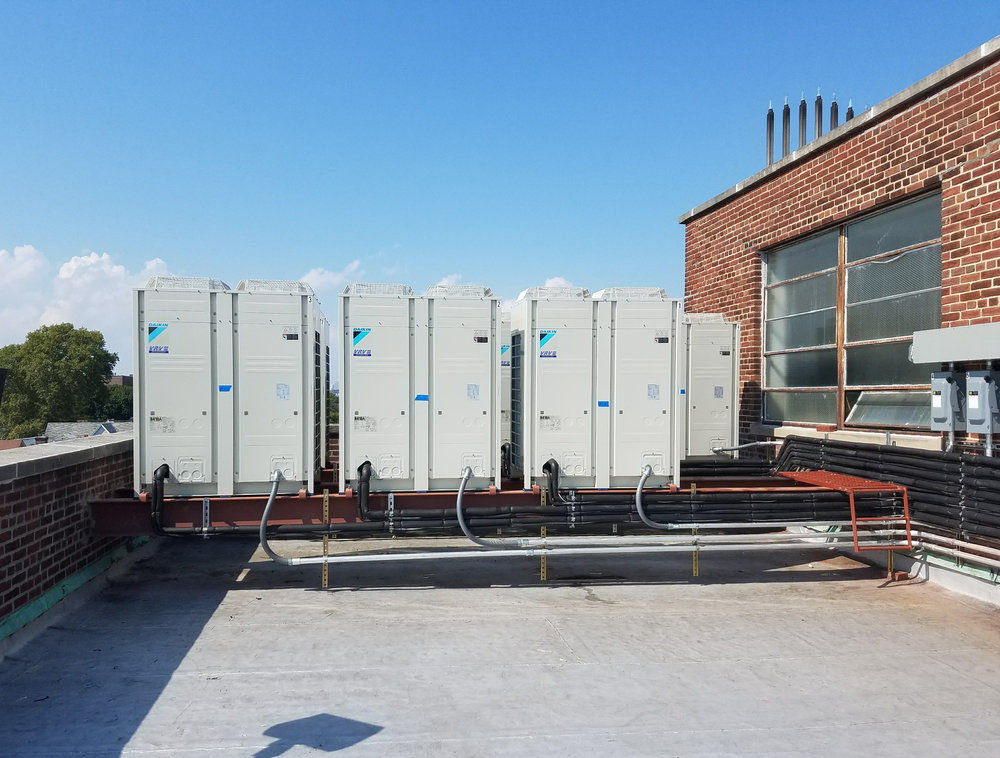 Featured here are 100 tons of VRV units installed to heat and cool a school building.