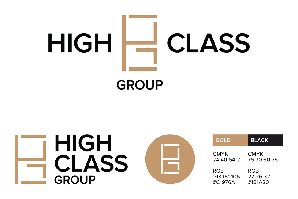 The main logo lockups, monogram and colors