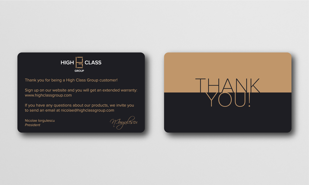 Thank you  card. Every customer receives one alongside the product.