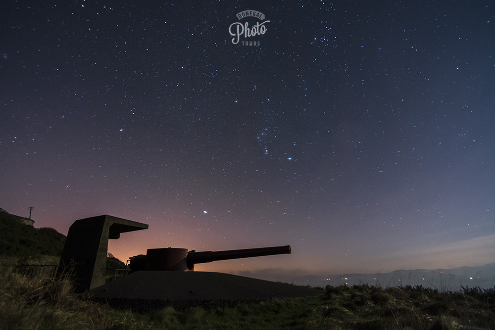 Orion the Hunter and Sirius stand guard over the guns that stood guard over Lough Swilly