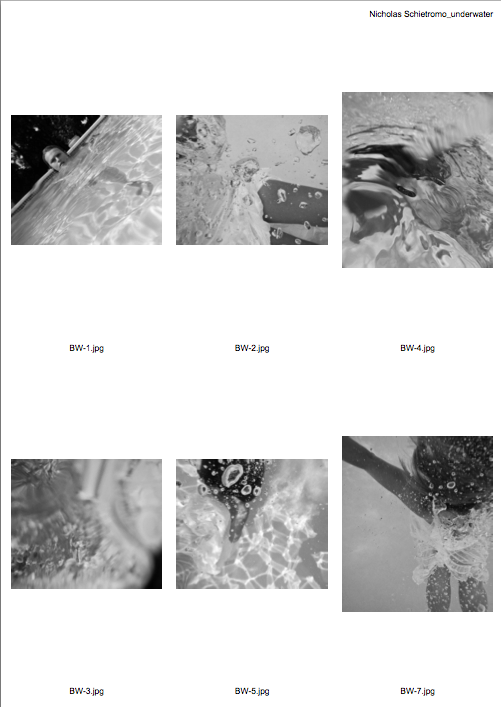 Here is a teaser of the one of the contact sheets from an underwater shoot I did last week. Ive been thinking about how I wanted to shoot this, more fashion or fine art. Clearly, I went with the Fine Art, more abstract, type of photographs. I am VERY pleased with the way they came out. Once I go through and make final edits, I will share!