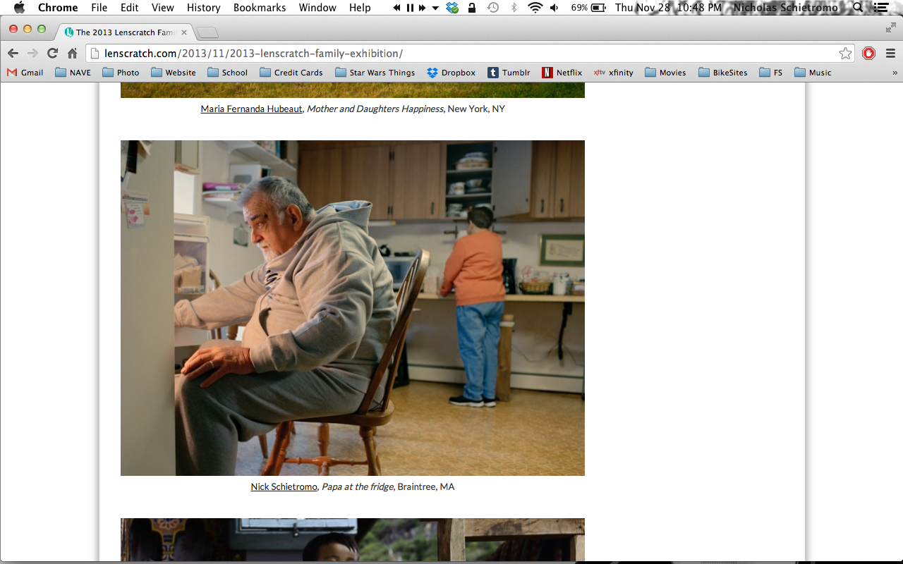 I got on the first page of the  2013 LENSCRATCH FAMILY EXHIBITION!  Check out all the photos  here .