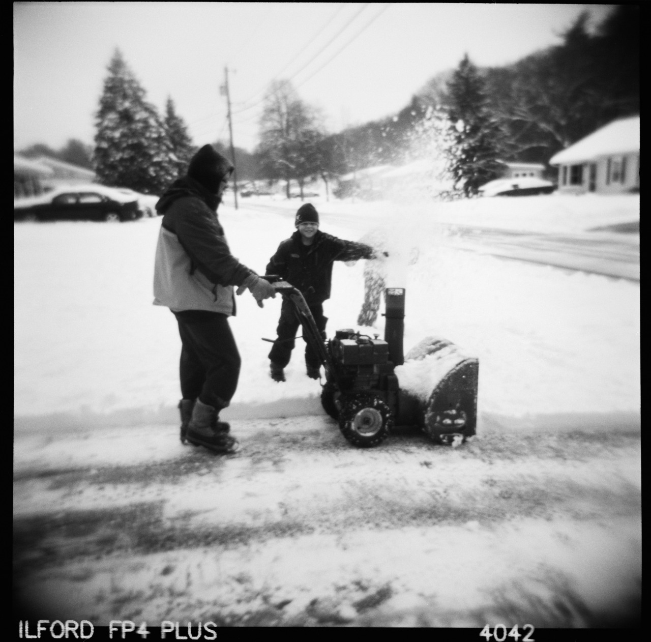 Playing With the Snowblower, Holga, Ilford FP4. Nicholas Schietromo