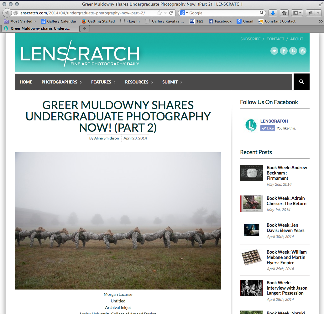 The Flash Foward Undergraduate Photography Now (part 2) that I am in was featured on Lenscratch! Click the link to view everyones images! Great group of photographers this year for sure.    http://lenscratch.com/2014/04/undergraduate-photography-now-part-2/