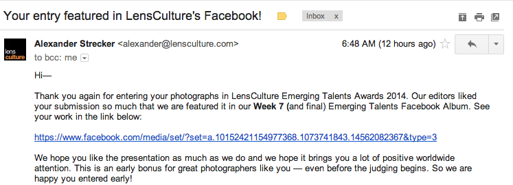 AHH! LensCulture featured my photo as one of the top entrants of this past week!!! So grateful!     See more from the series HERE.