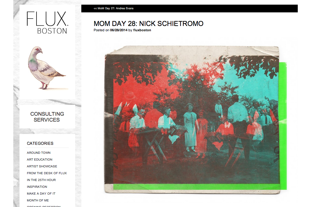 I was featured as yesterday's MoM on FLUX Boston!     CLICK HERE  for link to the website.
