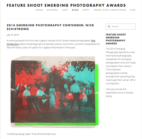 "I found out yesterday that FeatureShoot posted this on this website! I am officially a ""contender"" for their emerging artist 2014! Fingers crossed!     CLICK HERE  for the full post!"