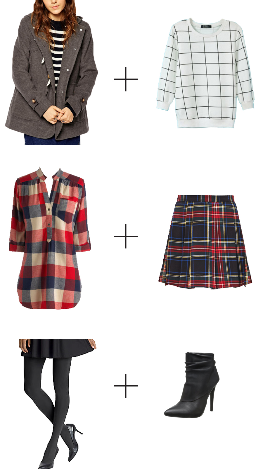 Plaid Pattern Pullover, $20.99 Jollychic.com .  Bonfire Stories Tunic, $39.99, ModCloth .  Plaid mini-skirt, $15.80  , Forever 21 .  Ultimate Hooded Duffle Coat, $114.26, ASOS.com .  Opaque tights, $12, Hanes .    Meo Boots  , $60, M  ichael Antonio .