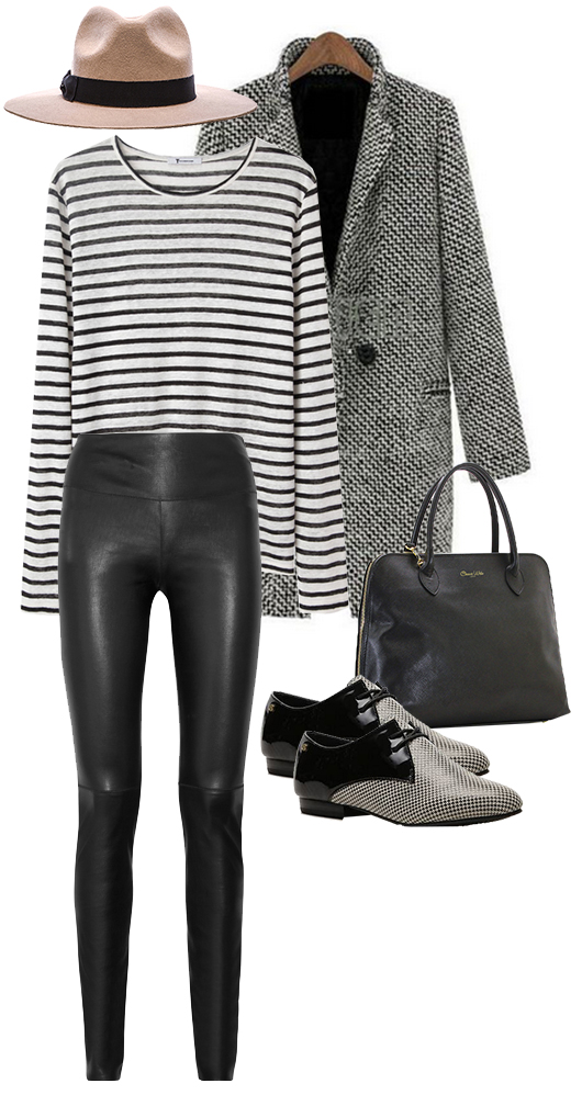 Leggings: Ann Taylor, Shoes: DSW, Coat: Romwe, Tee shirt: Urban Outfitters, Hat: Revolve Clothing, Handbag: Overstock