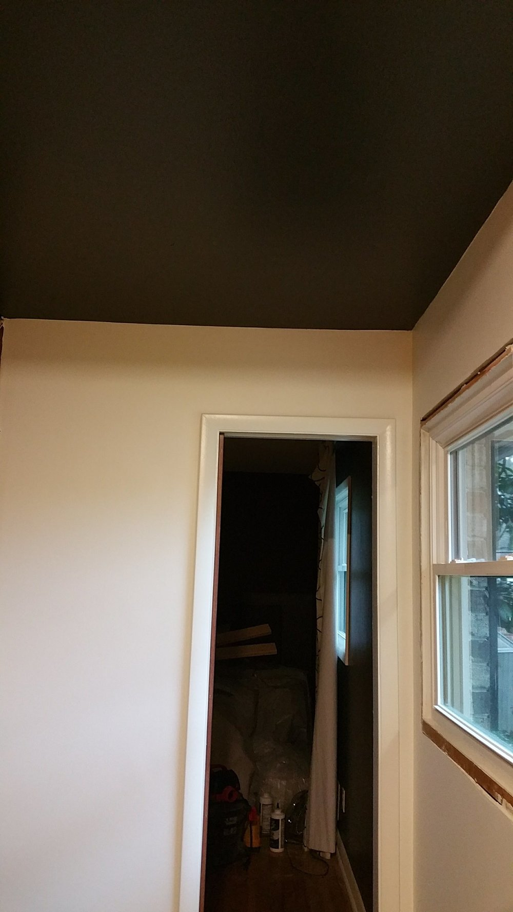 Painted ceiling in Sherwin Williams Iron Ore, semi-gloss finish