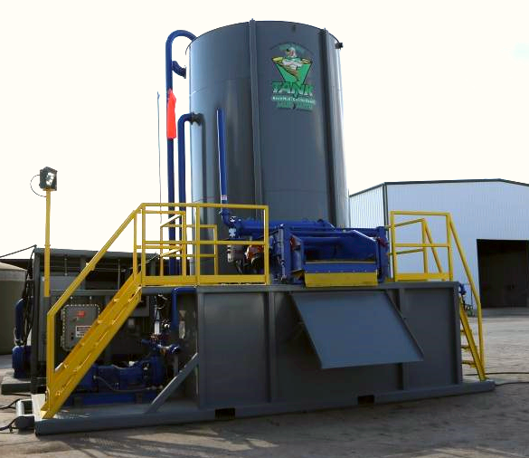 "Mudsmith's Mud Cleaning & Conditioning System for Workovers, is designed to provide more mud volume, better mixing, better solids removal, and gas separation, than typical equipment available for workover operations, consistent with Mudsmith's goal to provide ""cleaner, safer, faster, & simpler methods of mixing & handling drilling fluids"".    Typical workovers are equipped with a ~120-180 bbl reverse rig pit with only a length of window screen to remove drilled cuttings from fluid returns to the pit. These pits are sufficient when only water is required for drilling fluid. When a mud system is required for open hole drilling, or cleaning out washouts, typical reverse pits fall short in the areas of volume, mixing & cleaning capabilities.    Mudsmith's Mud Cleaning & Conditioning System features ~450 bbls of usable mud volume, a high shear mud mixing hopper, a high performance orbital shale   shaker  , a gas separator, a ditch magnet for removing metal cuttings, a pressure washer for keeping work areas clean & safe, and lighting for 24 hour operations.    The   shaker     tank  , pump & hopper skid, & vertical mixing & storage   tank  , are all skid mounted for ease of transportation. Base skids feature forklift pockets on all four sides. Loading hitches on tail board skids feature permanent bridles for quick, easy & safe loading onto winch trucks.    Pump skids are equipped with explosion proof electrical starter boxes. The   shaker     tank   pump is automated to start before   tank   runs over & stop before   tank   runs dry. The 400 bbl V-  Tank   is equipped with radar level indicator & ground-level display capable of monitoring multiple   tank   levels.    A wind-sock is provided to determine direction of exhaust of noxious or flammable gasses.    Ground-level manways  provide for   tank   cleaning to be done with no need for confined-space entry.    The on-board pressure washer is supported by a ~1,400 gallon fresh water reservoir. This pressure washer provides for cleaning the unit during & after field operations, while in the field, to lower clean-up costs upon release of the units.    All   tanks   are internally coated with acid-resistant coating for long-term service in the field.    Mudsmith also provides staff & field mud engineering services, a complete line of bagged, liquid, or dry-bulk mud additives, and a fleet of trucks capable of hauling all types of mud additives.    Mudsmith is also equipped to deliver & rig up all equipment we offer.    For more information or to schedule a rental, please call our 24 hour service number at 432.687.6837"
