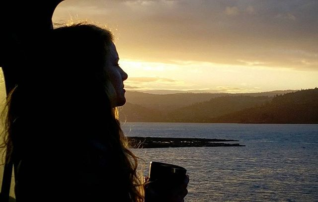 A happy lady on her happy birthday. Vanside sunrise along the Columbia River.