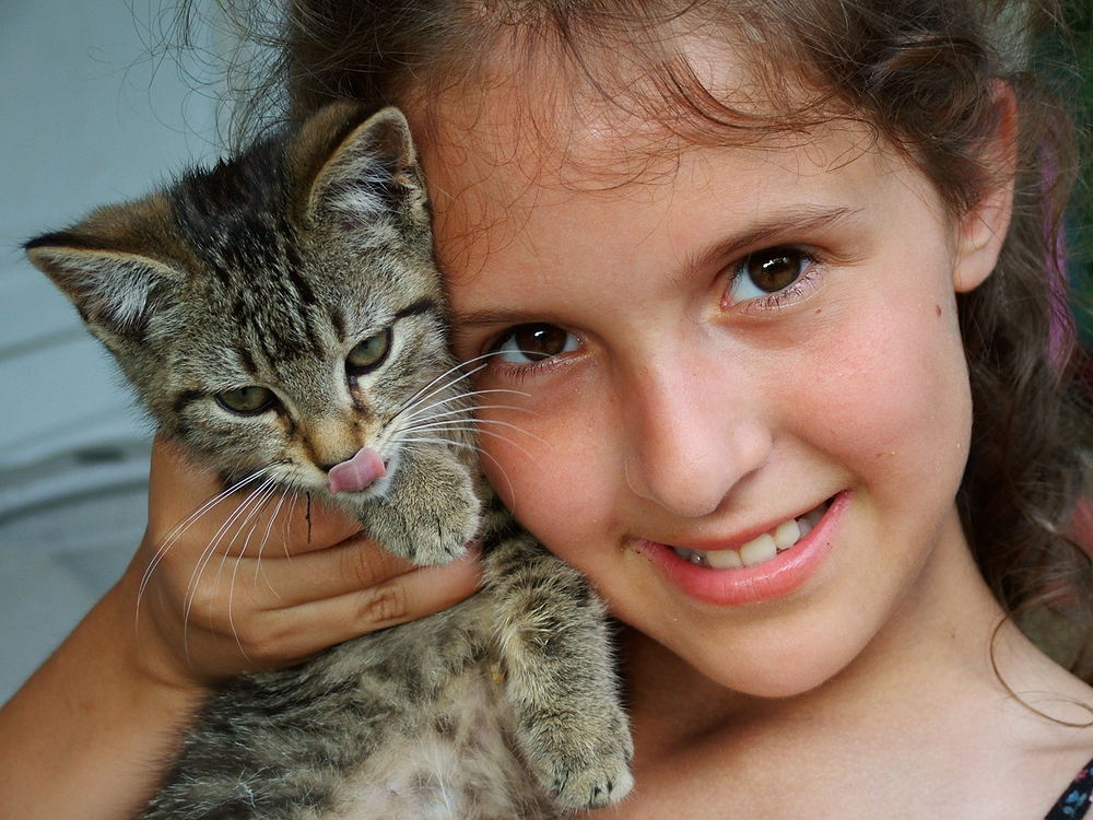 My cousin Jennifer and one of her kittens at their home in Pennsylvania.