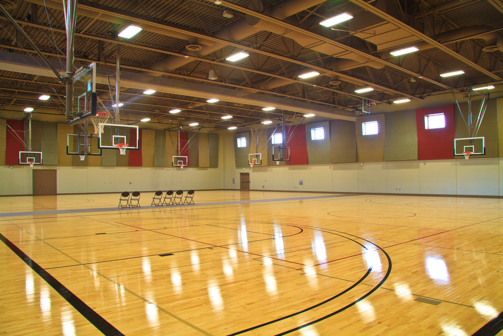 The Event Hall is a 15,000 square-foot area with several venue options. It can be a carpeted venue for large groups of up to 1,200 arranged in either theater or banquet seating, or a maple-floored gym space with two regulation-sized basketball courts or up to four volleyball courts.