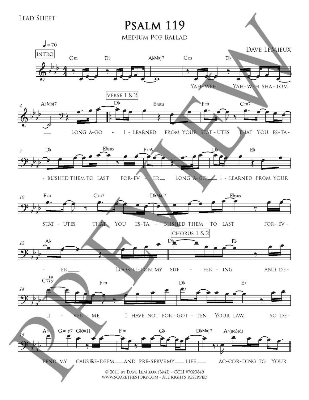 Lead sheet preview