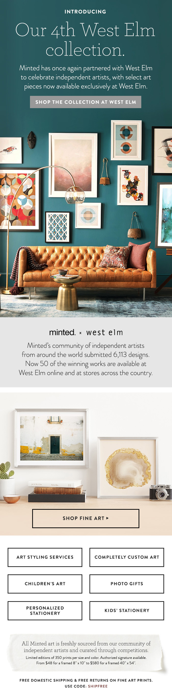 Minted x West Elm Email