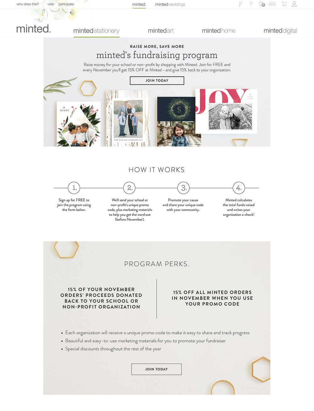 Minted's Fundraising Program Landing Page