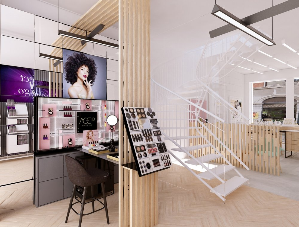 Makeup area. Wall + counter + general testing display.