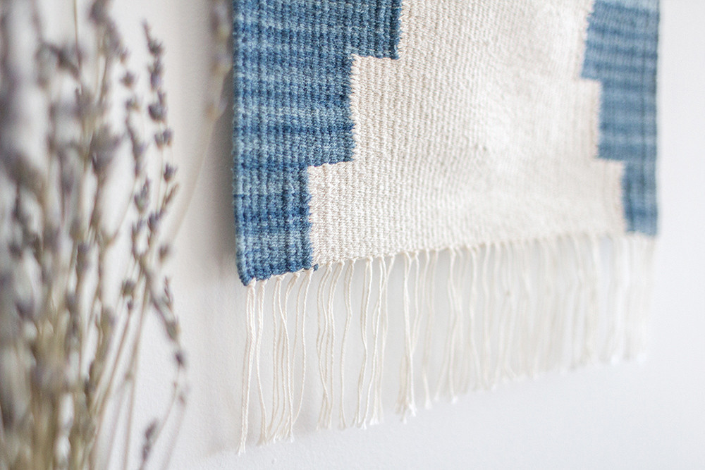 Rachel Duvall Textiles  for Madesmith.com  - sneak peek of the  indigo tapestries I wove for madesmith!