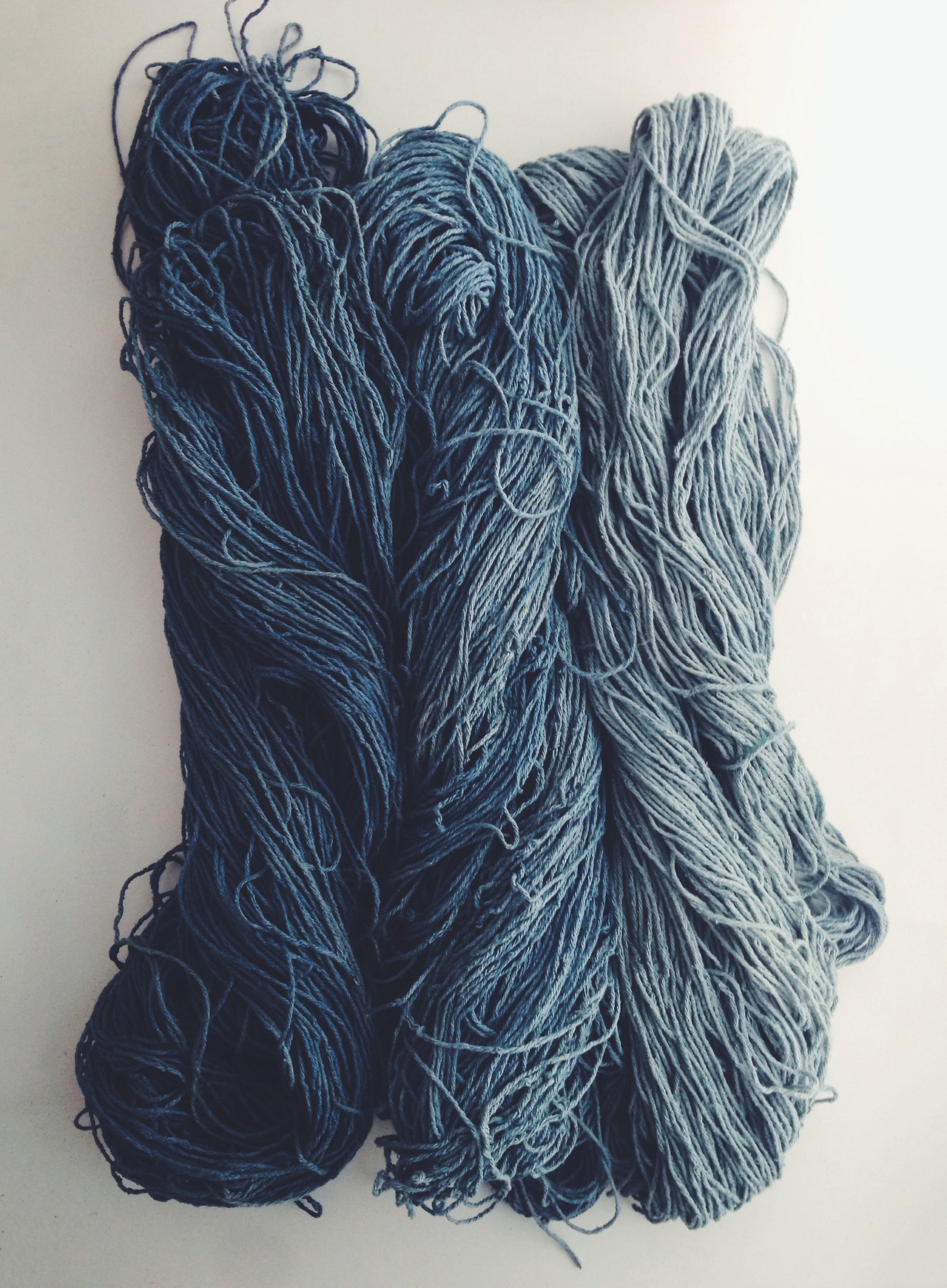 hand dyed indigo from my recent fermentation vat.  silk noil skeins with a soft gradient