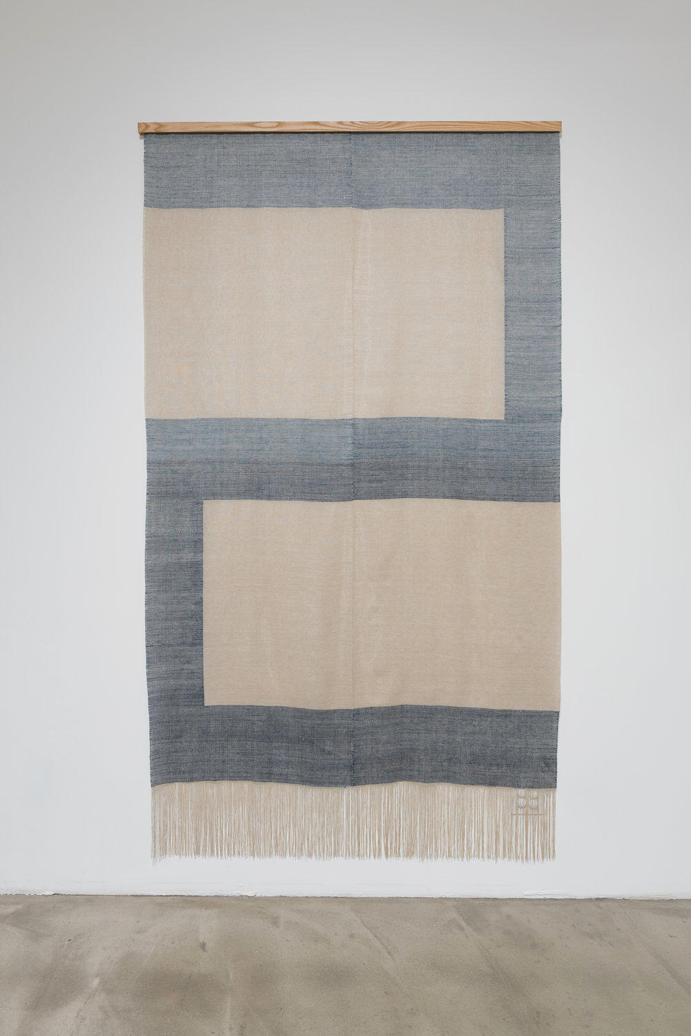 Untitled  2017, linen, natural dyes, ash; 64 × 115""