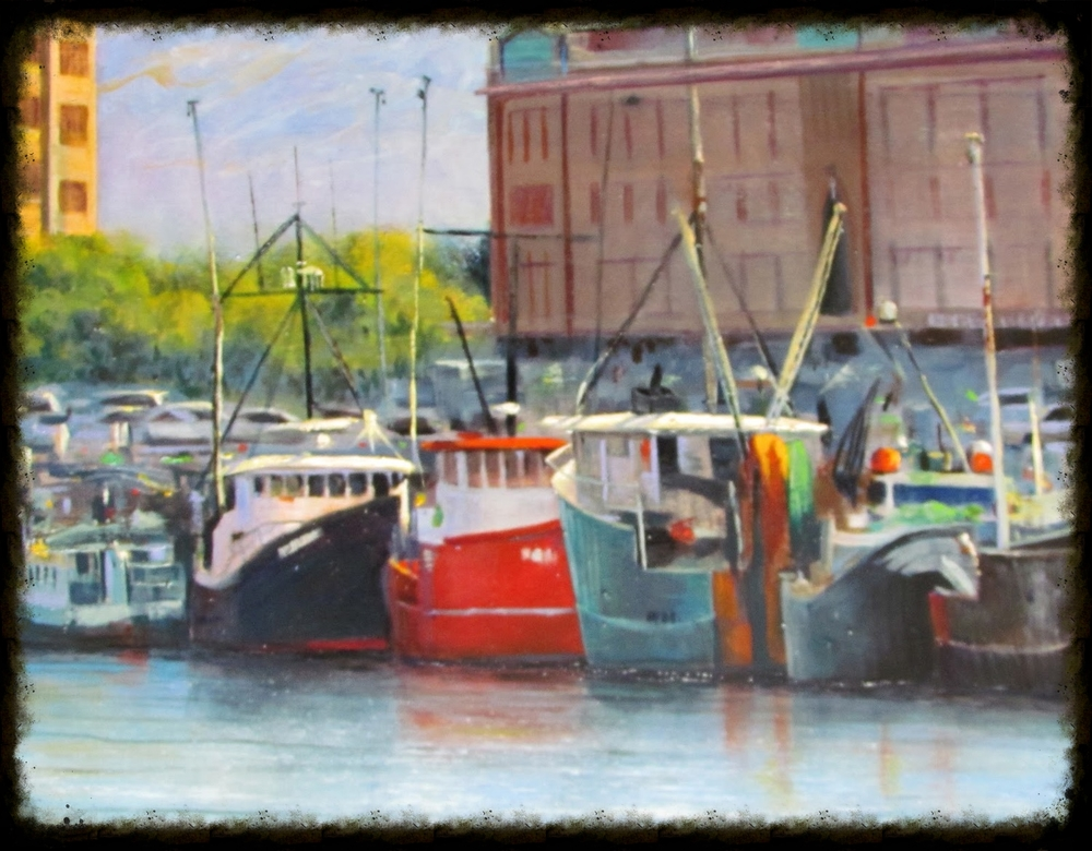 Artistic rendering of Boston's historic Fish Pier, Boston Lobster's place of origin.