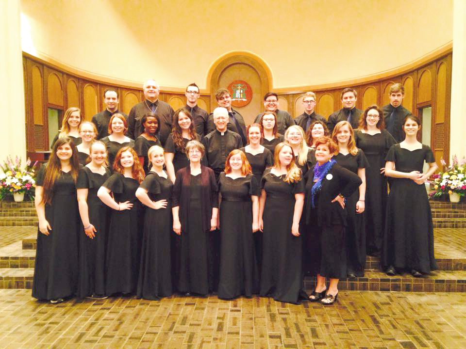 The choir with Bishop Earl Boyea.