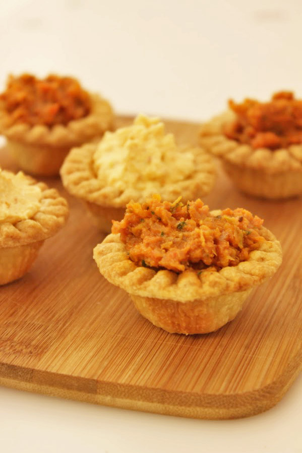 Sun-dried Tomato Tapenade and Kimcheese in tartlets.