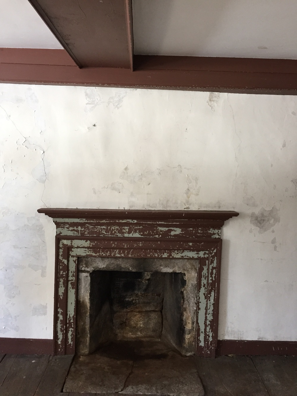 A fireplace in the home