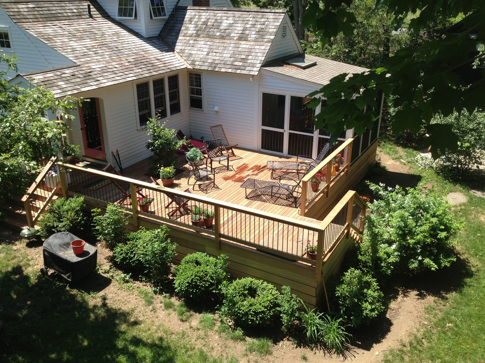 This is birds eye view of our recently completed deck.