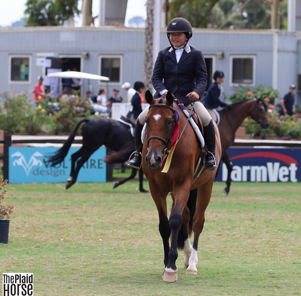 Augusta Iwasaki & Small Affair with their Large junior Hunter Championship ribbon