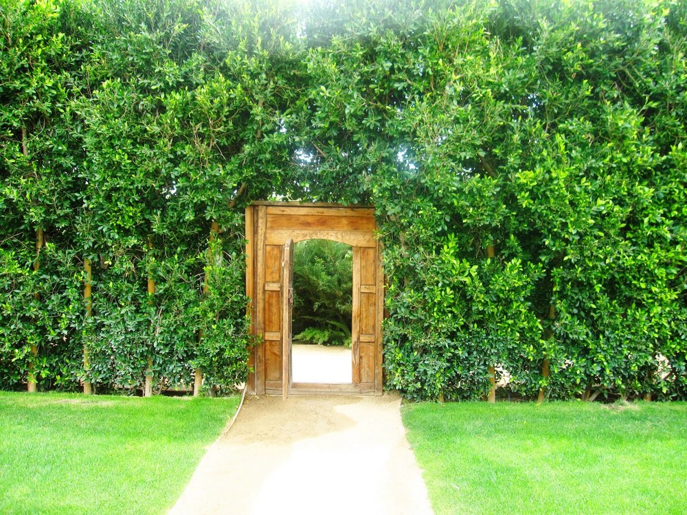 Doorway exiting a private garden, often used for events.