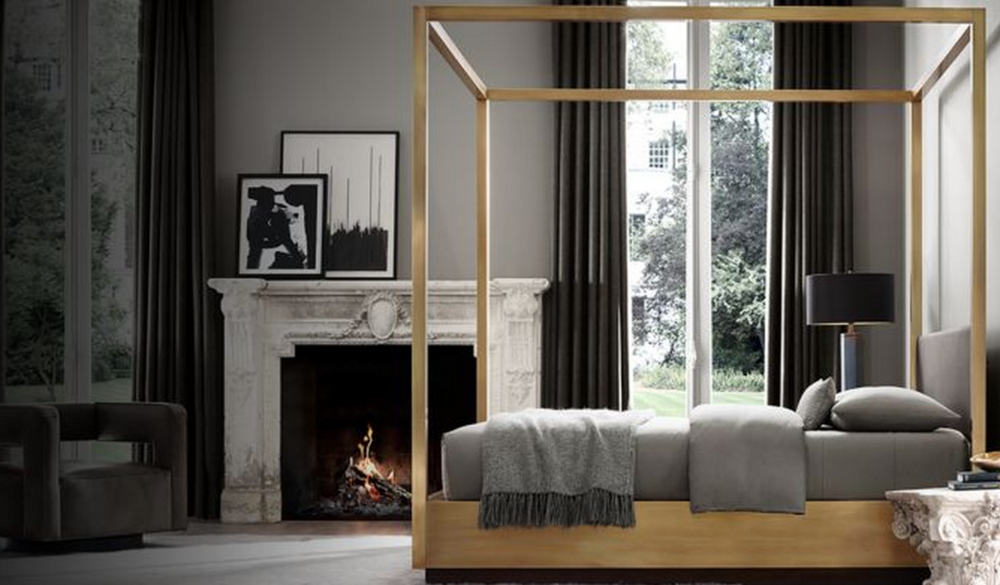 Draper Four-Poster Bed, pictured above in brushed brass, starting at $7995