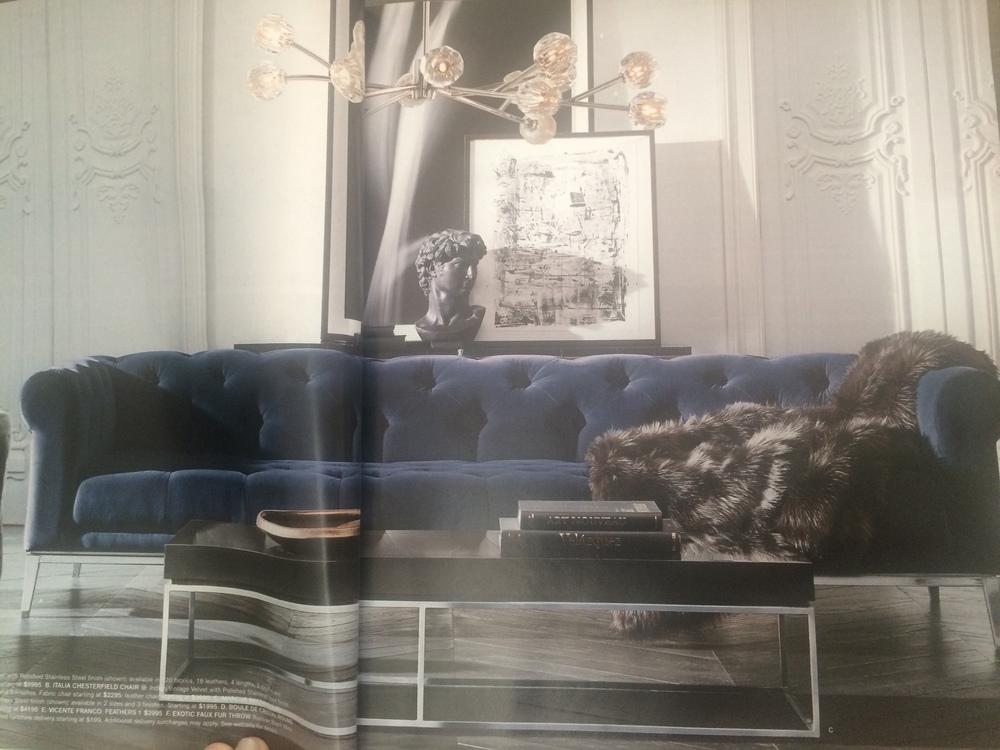 Italia Chesterfield Sofa in Indigo Vintage Velvet design by Anthony Cox of London.