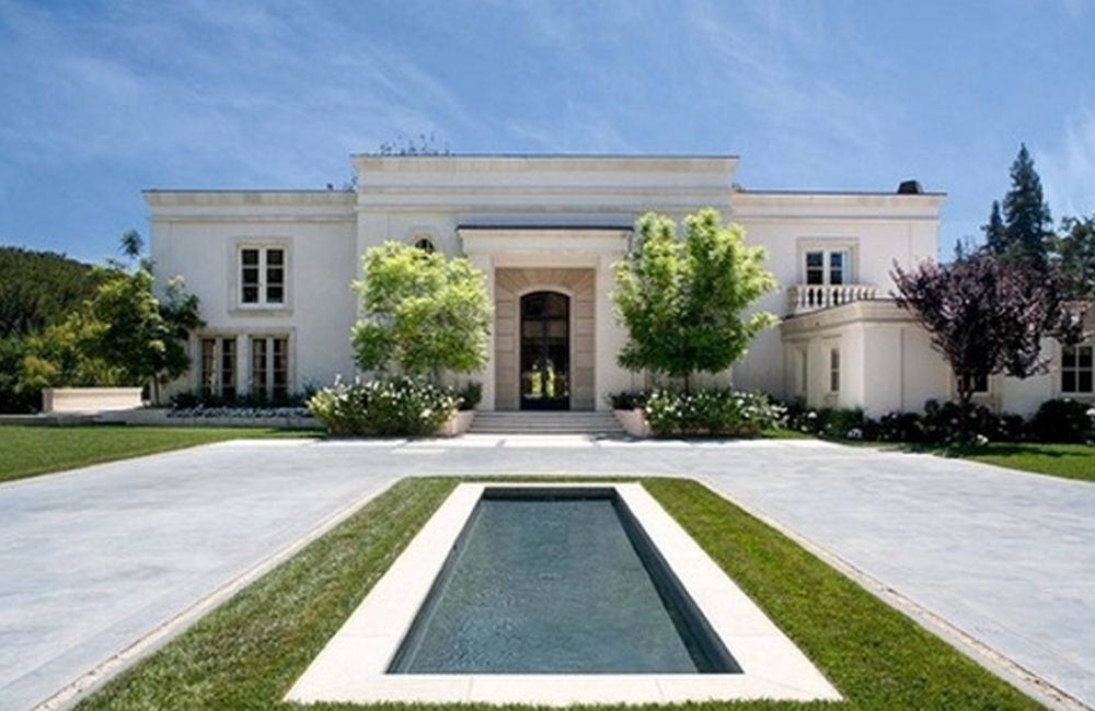 Driveway and front door entry to the power couple's new Beverly Hills Mansion