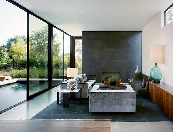 This fireplace steals the show even from the sexy floor to ceiling sliding doors and pool.